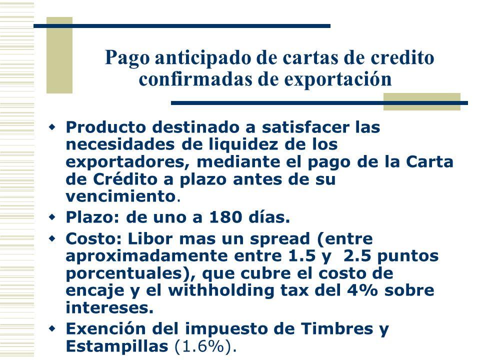 Pago anticipado de cartas de credito confirmadas de exportación