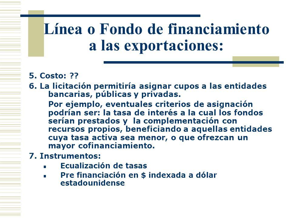 Línea o Fondo de financiamiento a las exportaciones: