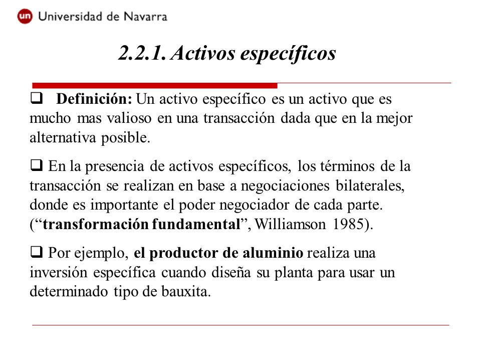 2.2.1. Activos específicos