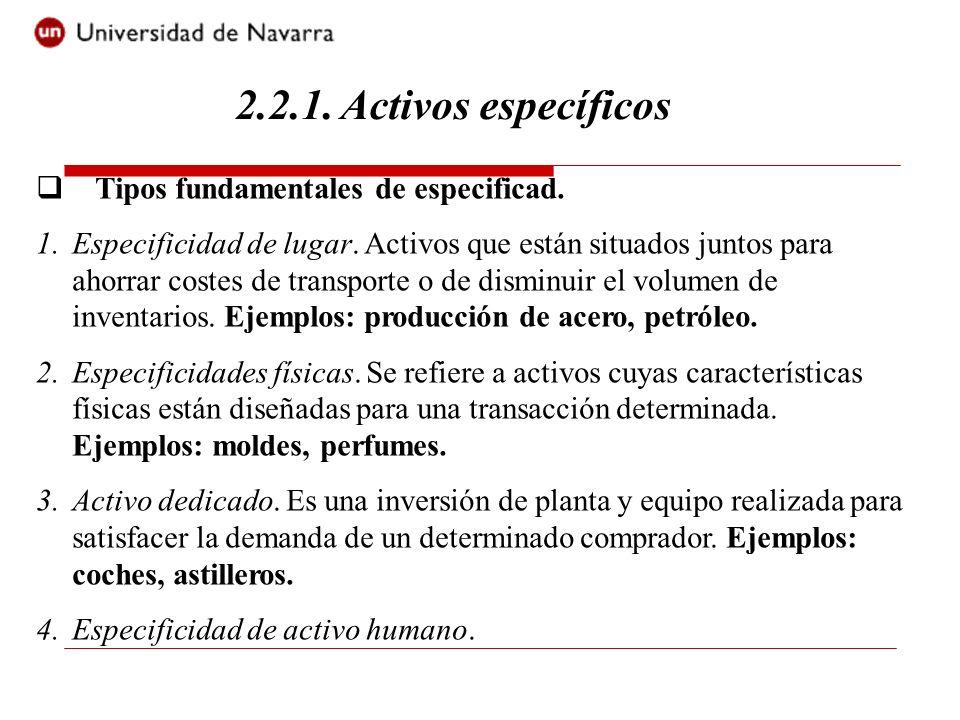 2.2.1. Activos específicos Tipos fundamentales de especificad.