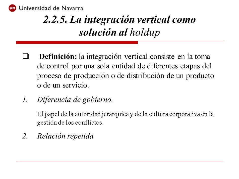 2.2.5. La integración vertical como solución al holdup