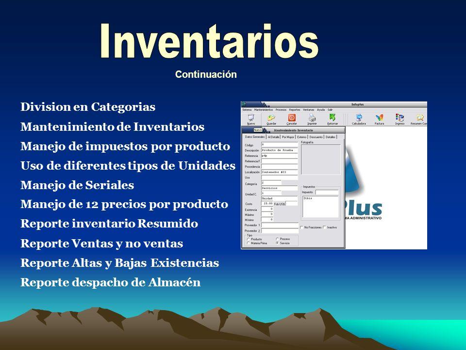 Inventarios Division en Categorias Mantenimiento de Inventarios
