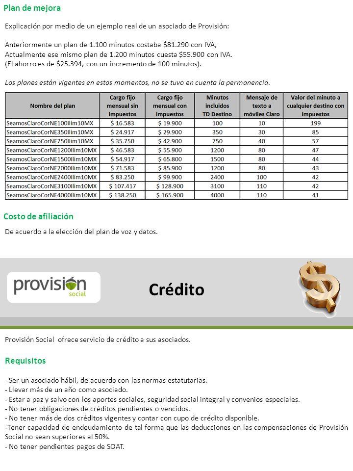 Crédito Plan de mejora Costo de afiliación Requisitos