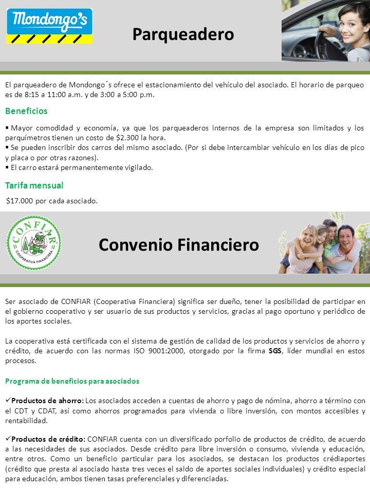 Parqueadero Convenio Financiero Beneficios Tarifa mensual