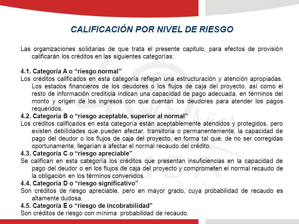 CALIFICACIÓN POR NIVEL DE RIESGO