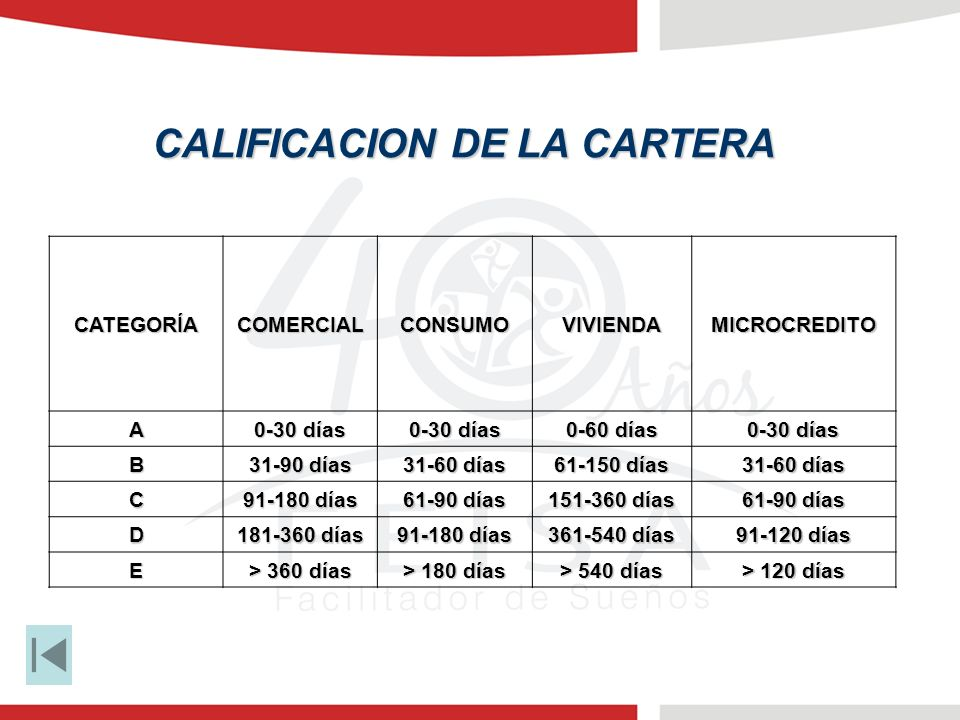 CALIFICACION DE LA CARTERA