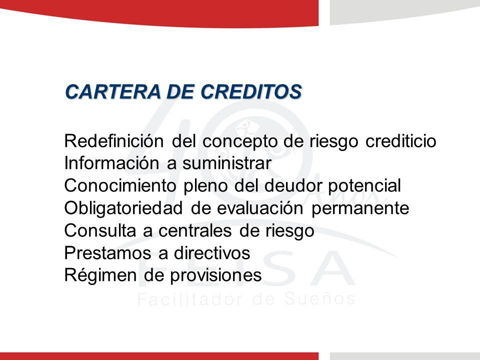 CARTERA DE CREDITOS Redefinición del concepto de riesgo crediticio