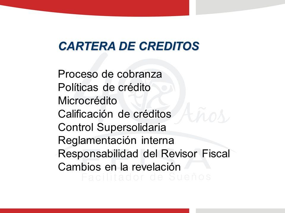 CARTERA DE CREDITOS Proceso de cobranza Políticas de crédito