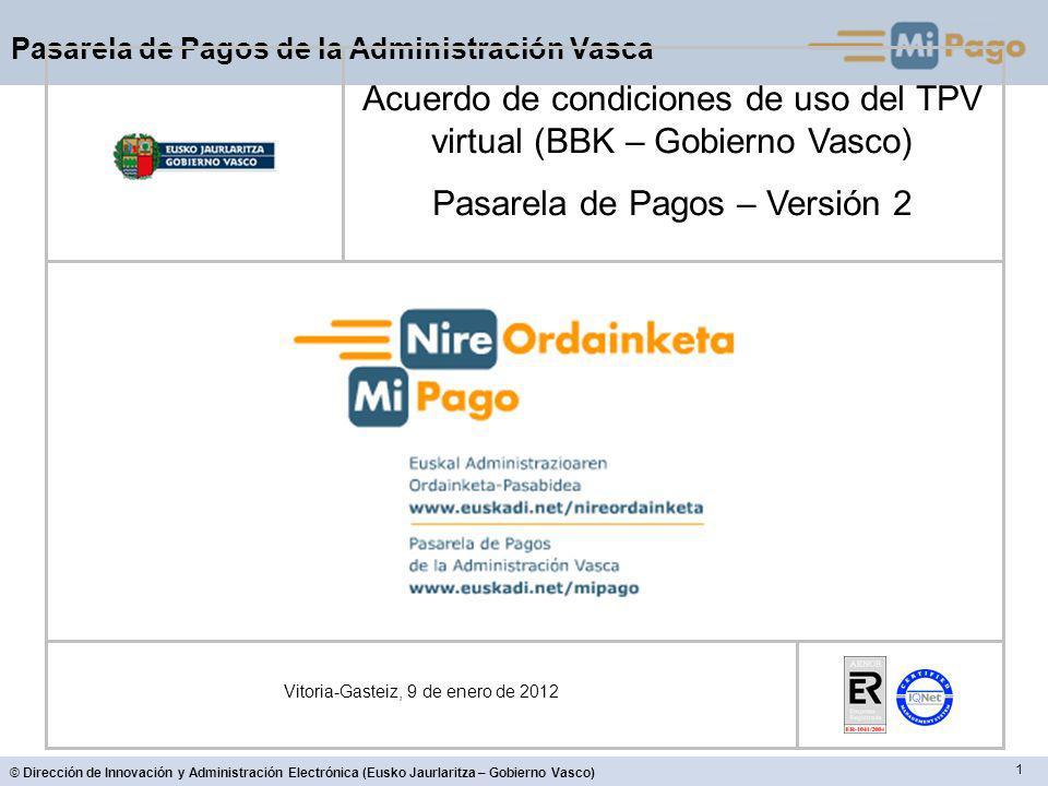 Acuerdo de condiciones de uso del TPV virtual (BBK – Gobierno Vasco)