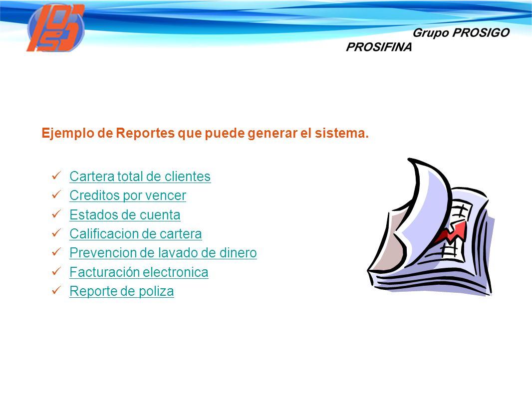 Ejemplo de Reportes que puede generar el sistema.