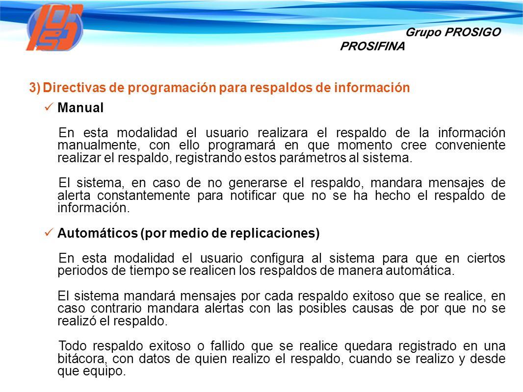 Directivas de programación para respaldos de información