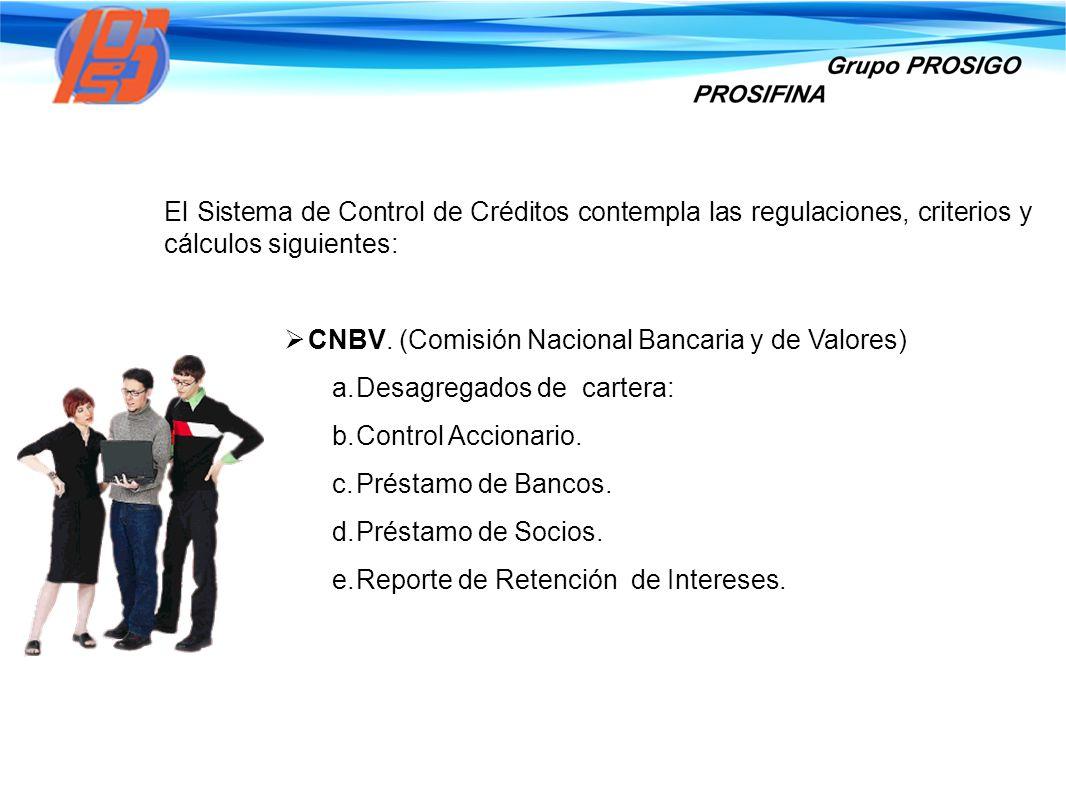 El Sistema de Control de Créditos contempla las regulaciones, criterios y cálculos siguientes: