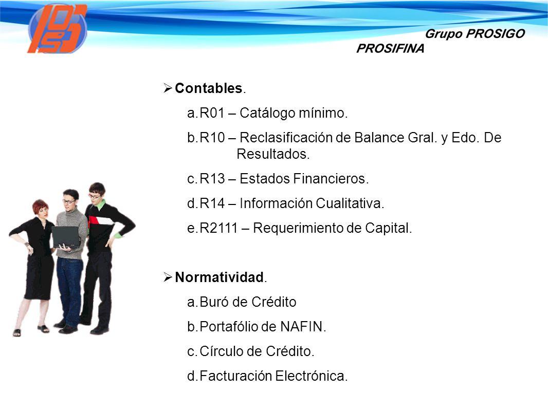Contables. R01 – Catálogo mínimo. R10 – Reclasificación de Balance Gral. y Edo. De Resultados. R13 – Estados Financieros.