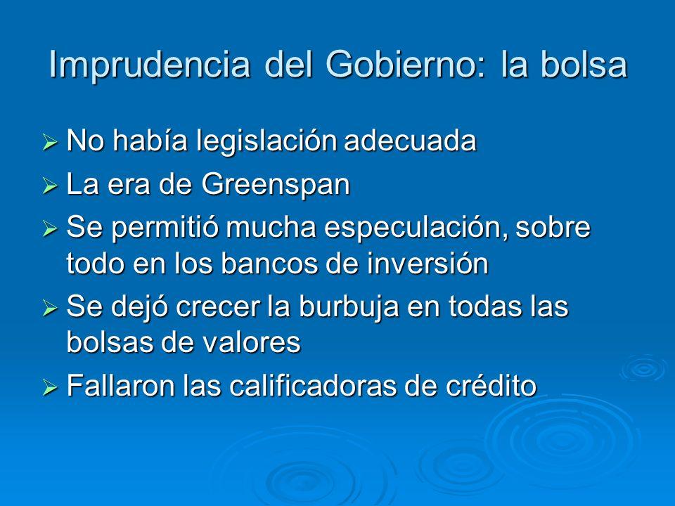 Imprudencia del Gobierno: la bolsa