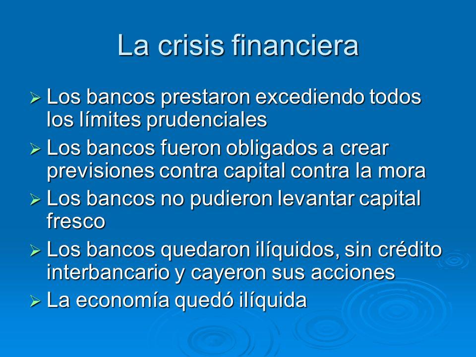 La crisis financiera Los bancos prestaron excediendo todos los límites prudenciales.