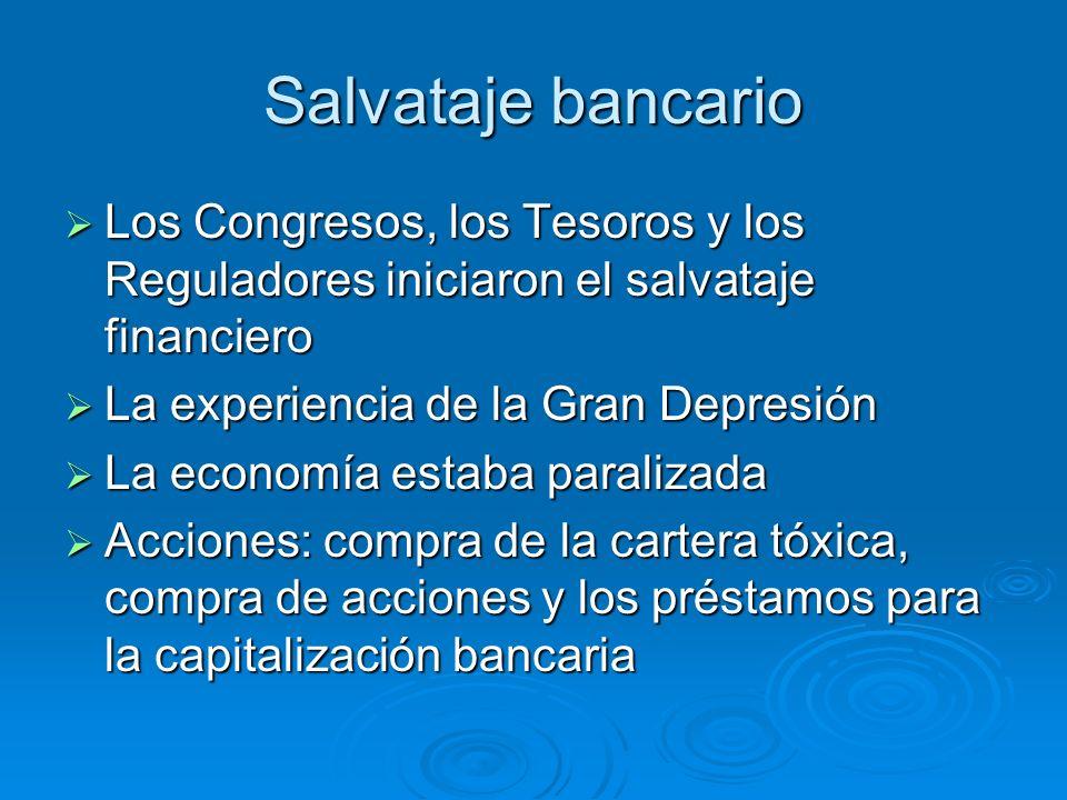 Salvataje bancario Los Congresos, los Tesoros y los Reguladores iniciaron el salvataje financiero. La experiencia de la Gran Depresión.