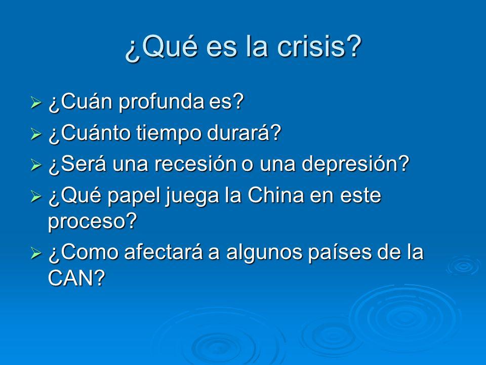 ¿Qué es la crisis ¿Cuán profunda es ¿Cuánto tiempo durará