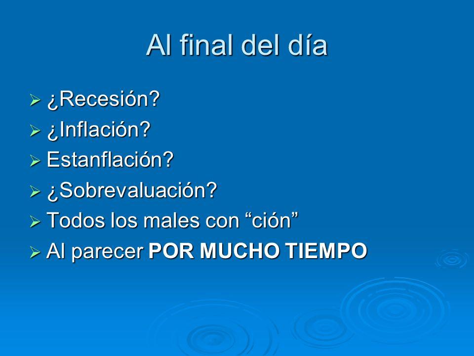 Al final del día ¿Recesión ¿Inflación Estanflación ¿Sobrevaluación