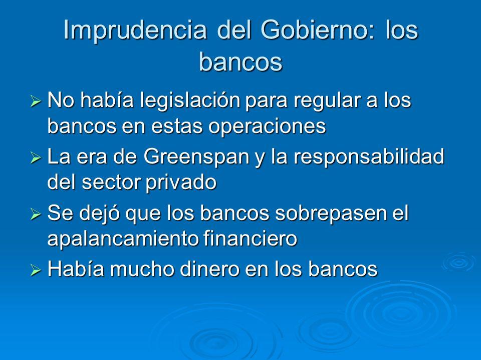 Imprudencia del Gobierno: los bancos