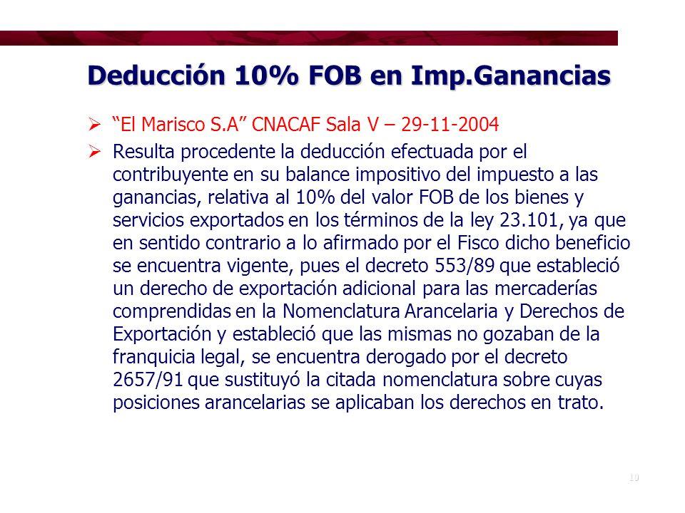 Deducción 10% FOB en Imp.Ganancias