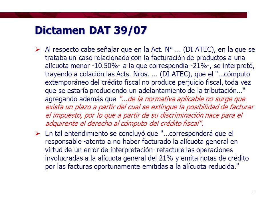 Dictamen DAT 39/07