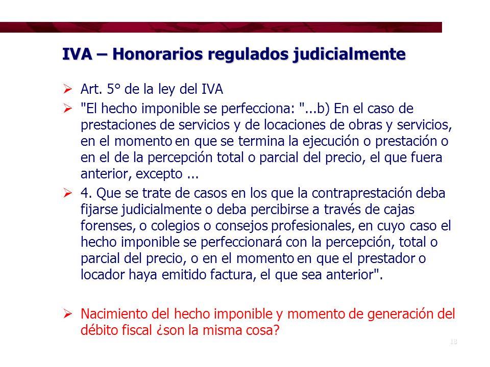 IVA – Honorarios regulados judicialmente
