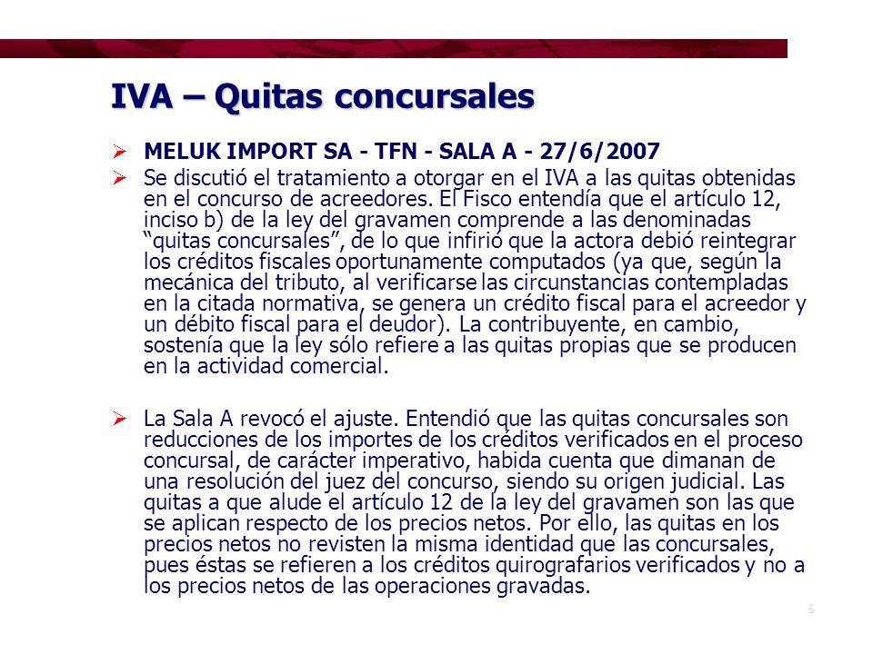 IVA – Quitas concursales