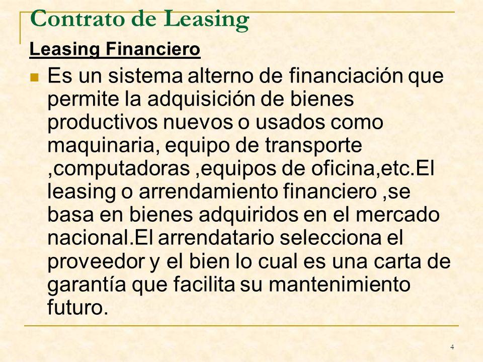 Contrato de Leasing Leasing Financiero.
