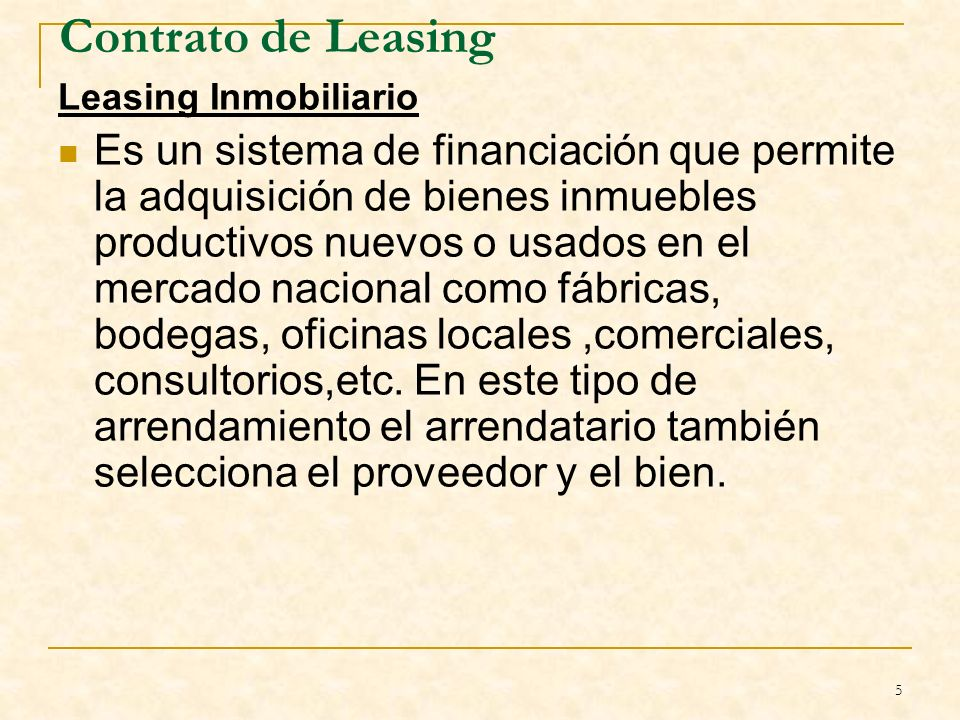 Contrato de Leasing Leasing Inmobiliario.