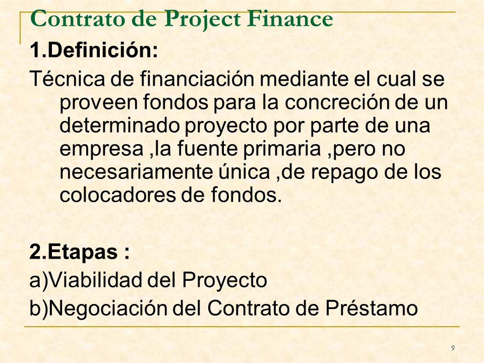 Contrato de Project Finance