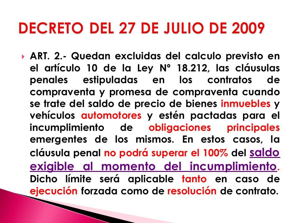 DECRETO DEL 27 DE JULIO DE 2009