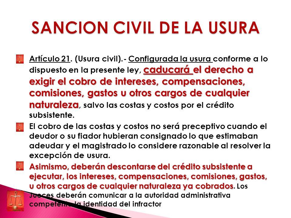 SANCION CIVIL DE LA USURA