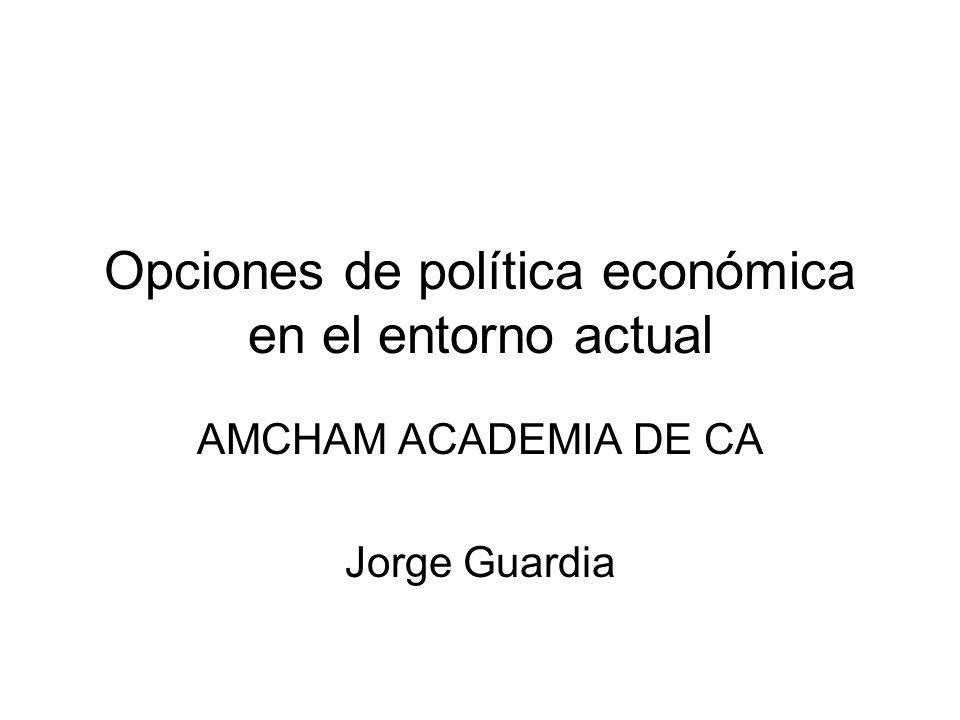 Opciones de política económica en el entorno actual