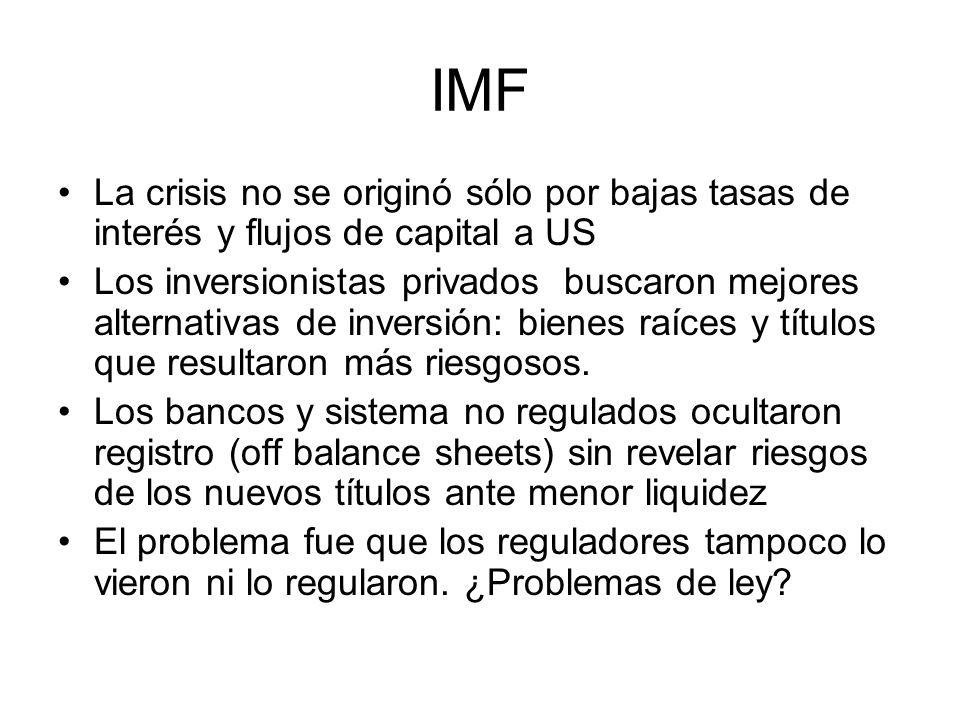 IMF La crisis no se originó sólo por bajas tasas de interés y flujos de capital a US.