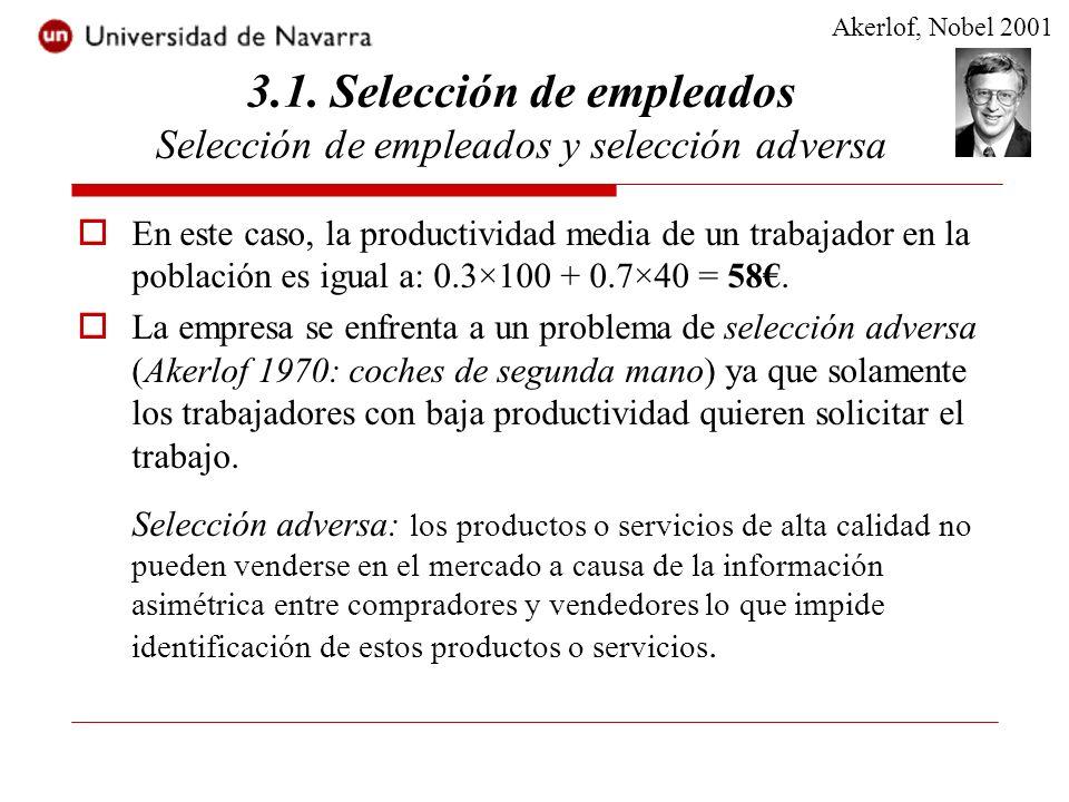 3.1. Selección de empleados Selección de empleados y selección adversa