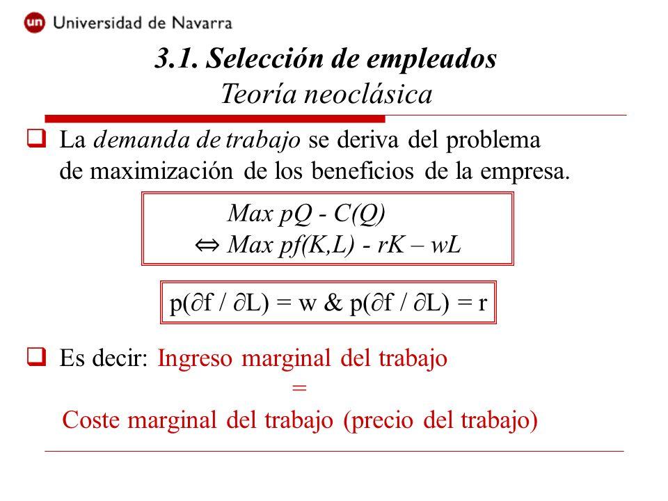 3.1. Selección de empleados Teoría neoclásica