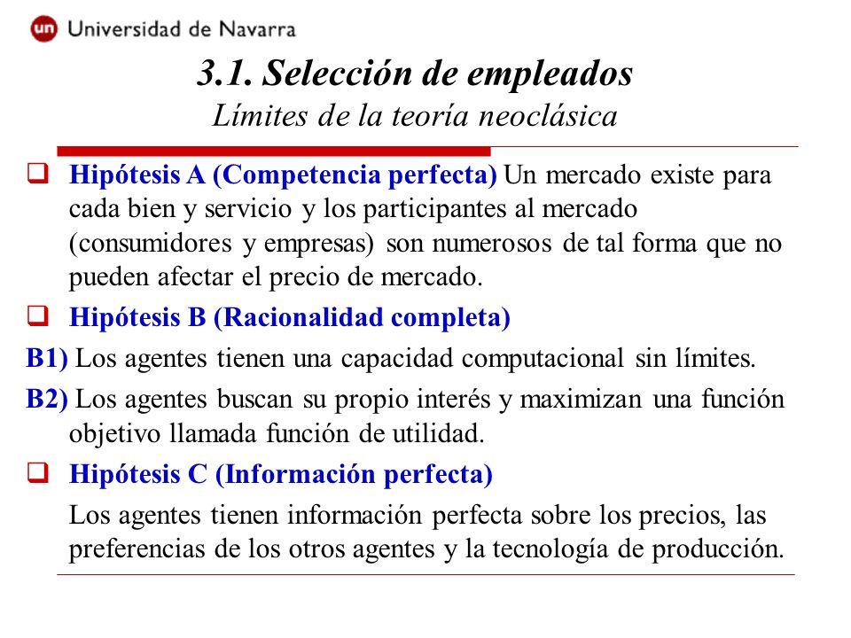 3.1. Selección de empleados Límites de la teoría neoclásica