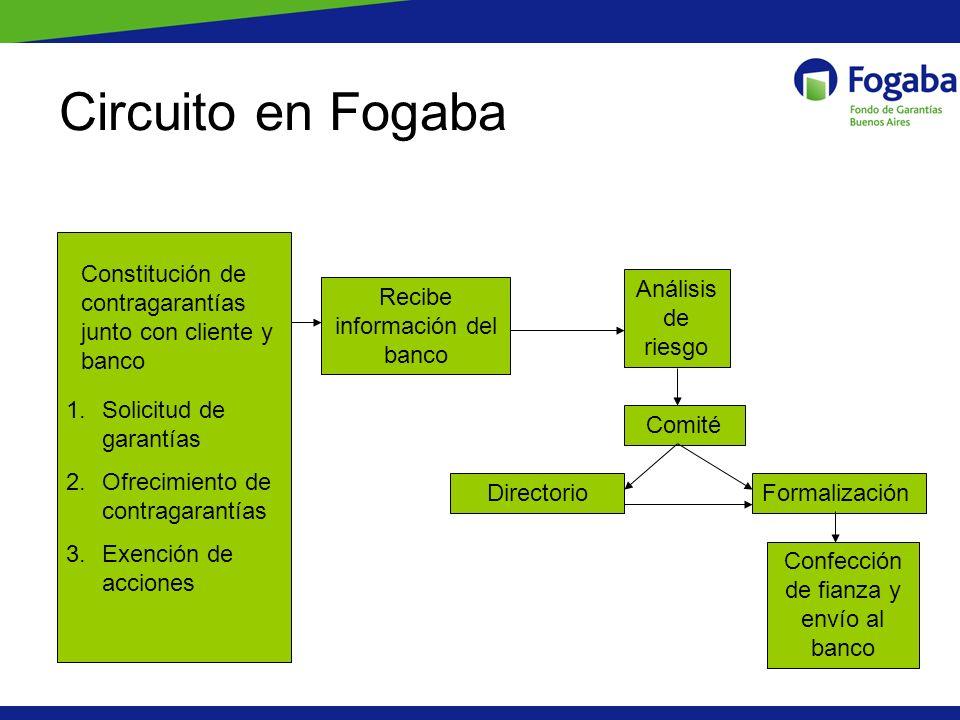 Circuito en Fogaba Constitución de contragarantías junto con cliente y banco. Análisis de riesgo. Recibe información del banco.