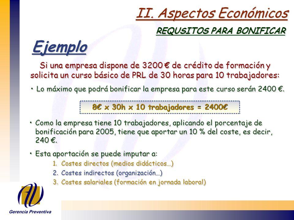 Ejemplo II. Aspectos Económicos REQUSITOS PARA BONIFICAR