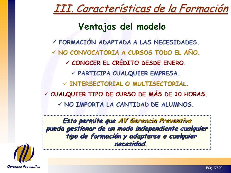 III. Características de la Formación