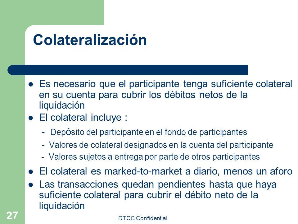 Colateralización Es necesario que el participante tenga suficiente colateral en su cuenta para cubrir los débitos netos de la liquidación.