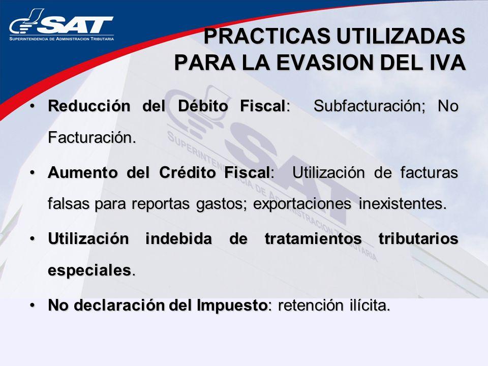 PRACTICAS UTILIZADAS PARA LA EVASION DEL IVA
