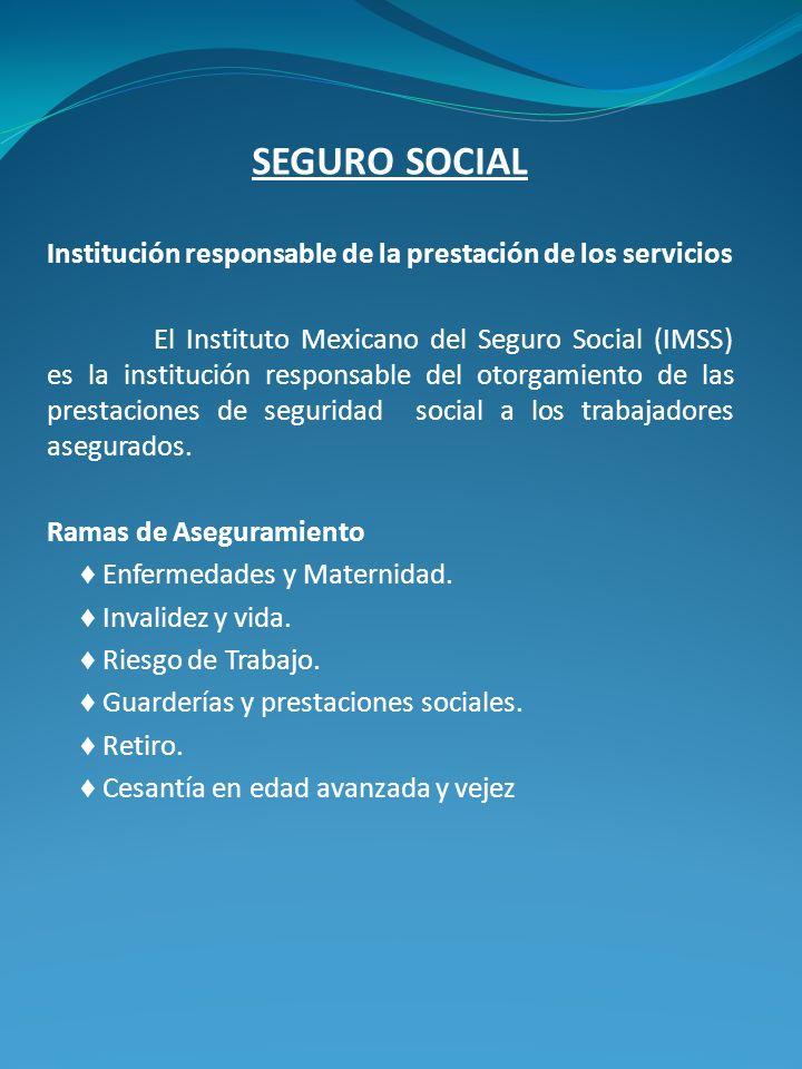 SEGURO SOCIAL Institución responsable de la prestación de los servicios.