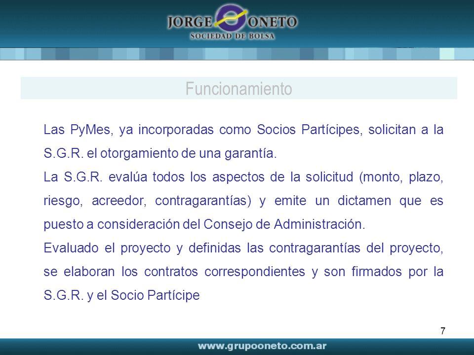 Funcionamiento Las PyMes, ya incorporadas como Socios Partícipes, solicitan a la S.G.R. el otorgamiento de una garantía.