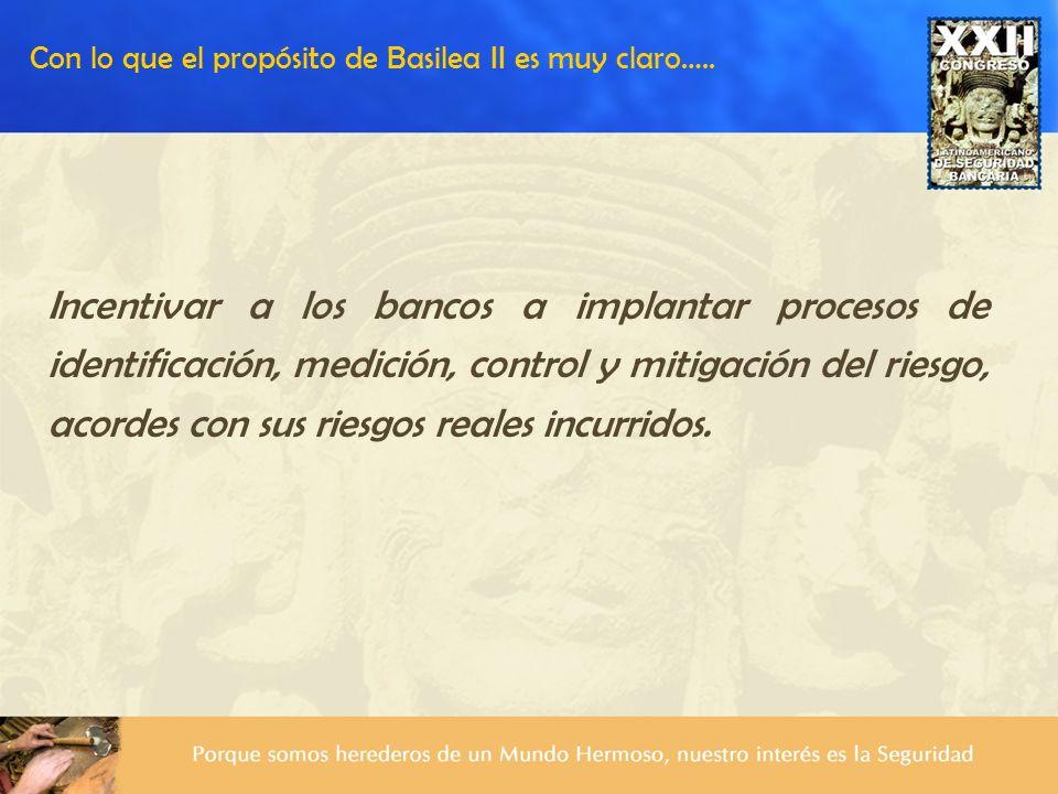Con lo que el propósito de Basilea II es muy claro…..