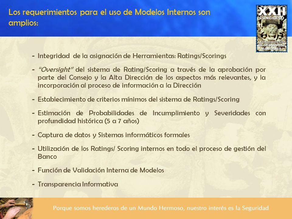 Los requerimientos para el uso de Modelos Internos son amplios: