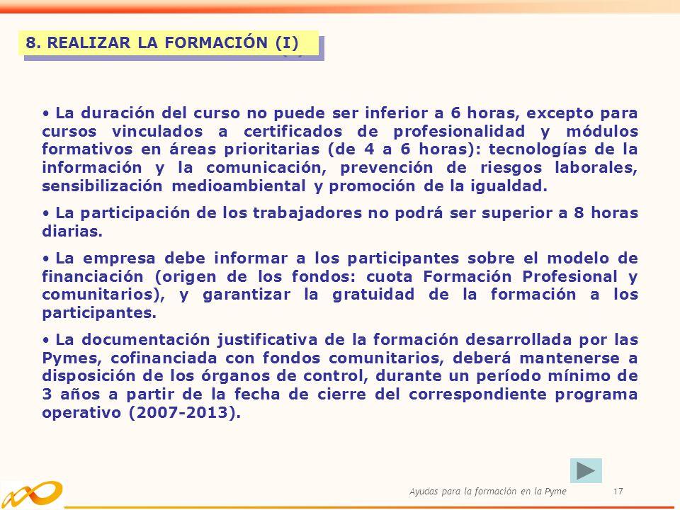 8. REALIZAR LA FORMACIÓN (I)