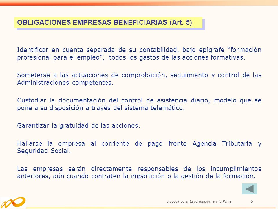 OBLIGACIONES EMPRESAS BENEFICIARIAS (Art. 5)