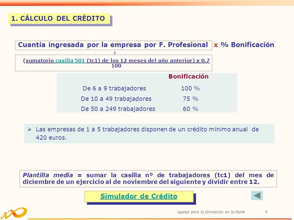 Cuantía ingresada por la empresa por F. Profesional x % Bonificación