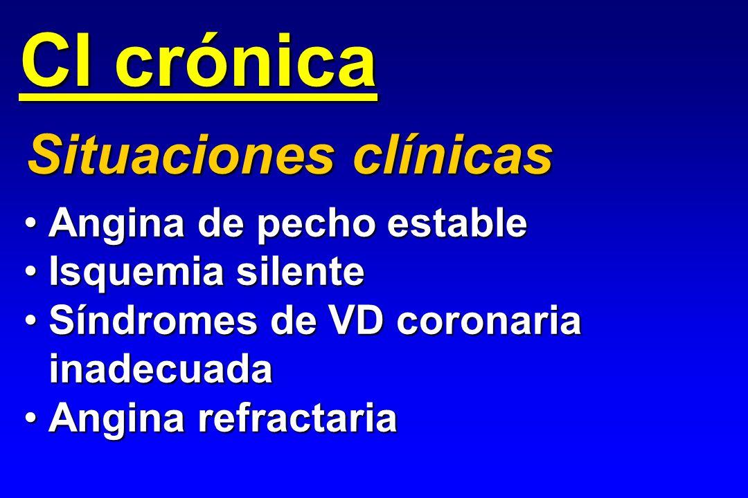 CI crónica Situaciones clínicas Angina de pecho estable
